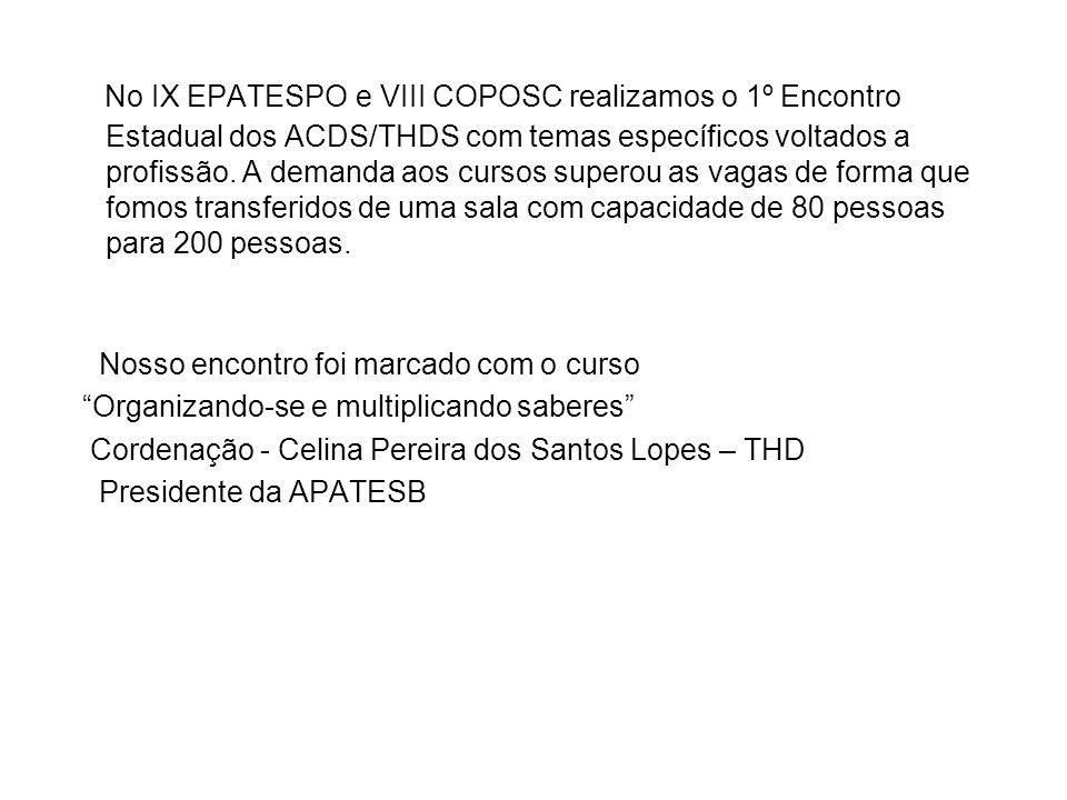 Celina Pereira dos Santos Lopes – THD Presidente da APATESB Funcionária da Prefeitura Municipal de Campinas – SP Coordenadora da Comissão de ACD e THD da PMC Apresentação – Conhecendo à APATESB – Associação Paulista dos Auxiliares e Técnicos em Saúde Bucal.