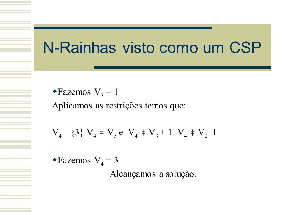 N-Rainhas visto como um CSP Fazemos V 3 = 1 Aplicamos as restrições temos que: V 4 = {3} V 4 V 3 e V 4 V 3 + 1 V 4 V 3 -1 Fazemos V 4 = 3 Alcançamos a
