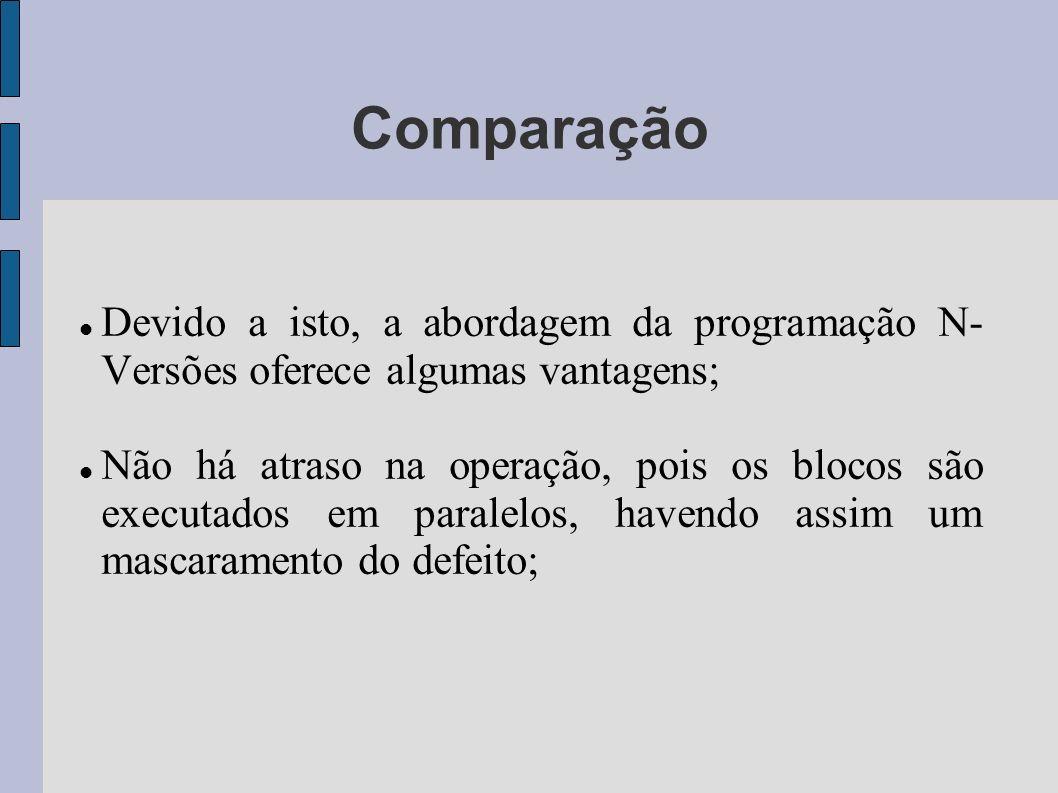 Comparação Devido a isto, a abordagem da programação N- Versões oferece algumas vantagens; Não há atraso na operação, pois os blocos são executados em