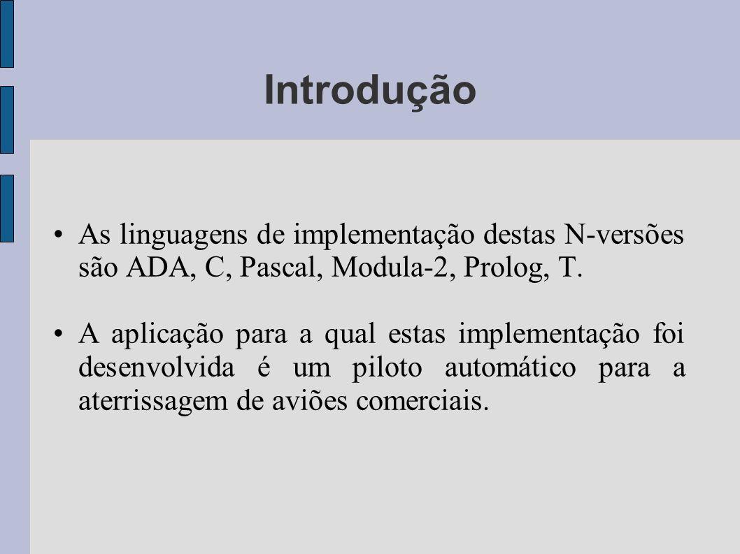 As linguagens de implementação destas N-versões são ADA, C, Pascal, Modula-2, Prolog, T. A aplicação para a qual estas implementação foi desenvolvida