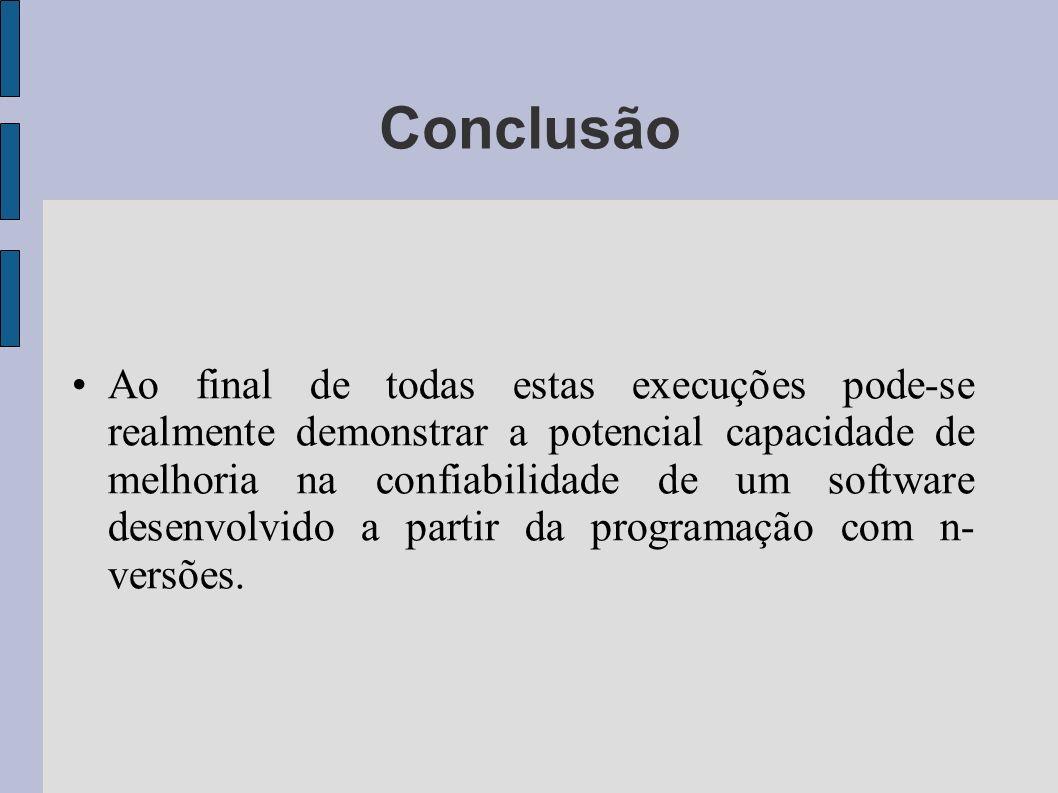 Ao final de todas estas execuções pode-se realmente demonstrar a potencial capacidade de melhoria na confiabilidade de um software desenvolvido a part