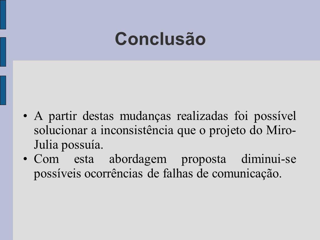 A partir destas mudanças realizadas foi possível solucionar a inconsistência que o projeto do Miro- Julia possuía. Com esta abordagem proposta diminui