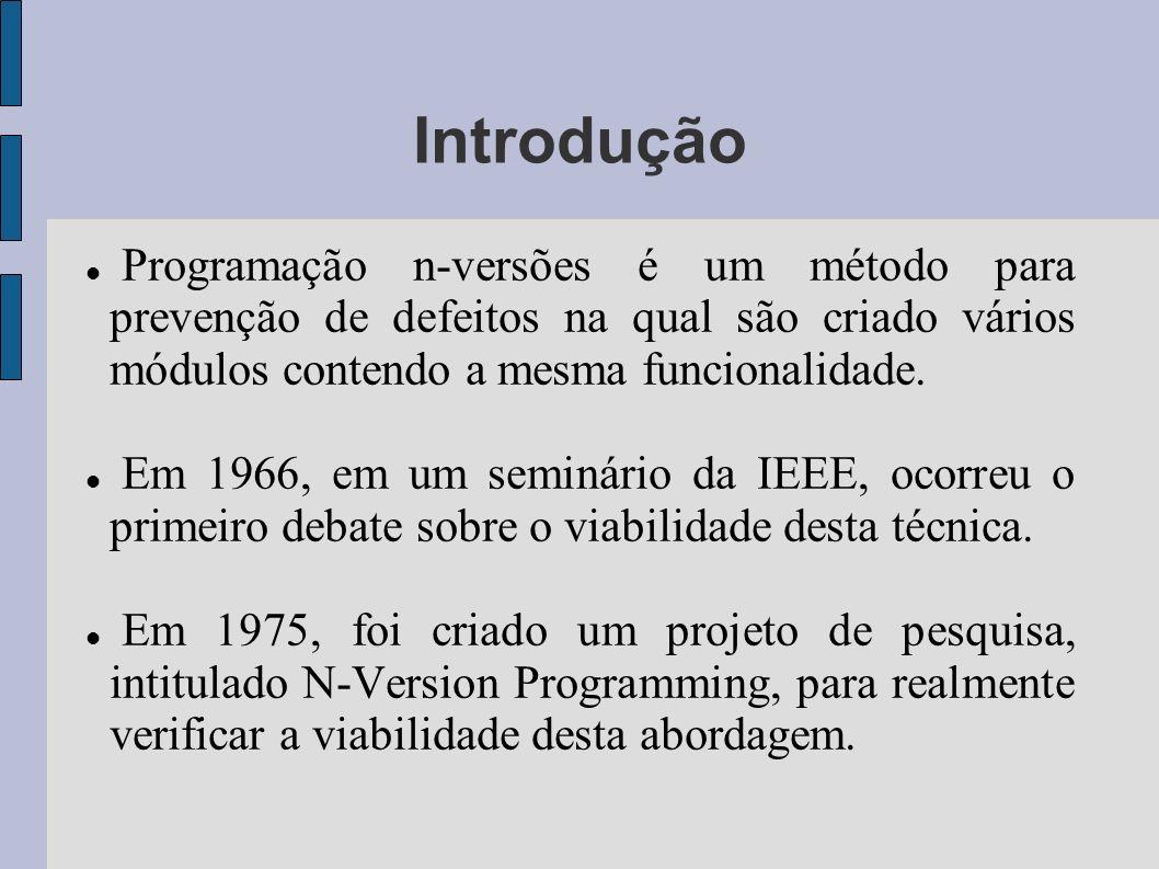 Introdução Programação n-versões é um método para prevenção de defeitos na qual são criado vários módulos contendo a mesma funcionalidade. Em 1966, em