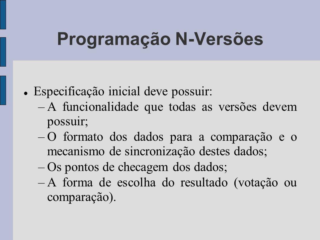 Programação N-Versões Especificação inicial deve possuir: –A funcionalidade que todas as versões devem possuir; –O formato dos dados para a comparação