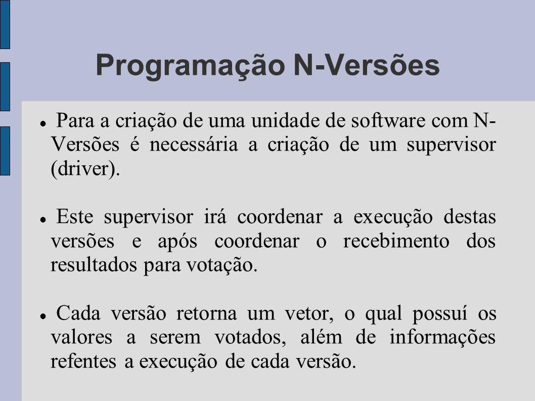 Programação N-Versões Para a criação de uma unidade de software com N- Versões é necessária a criação de um supervisor (driver). Este supervisor irá c