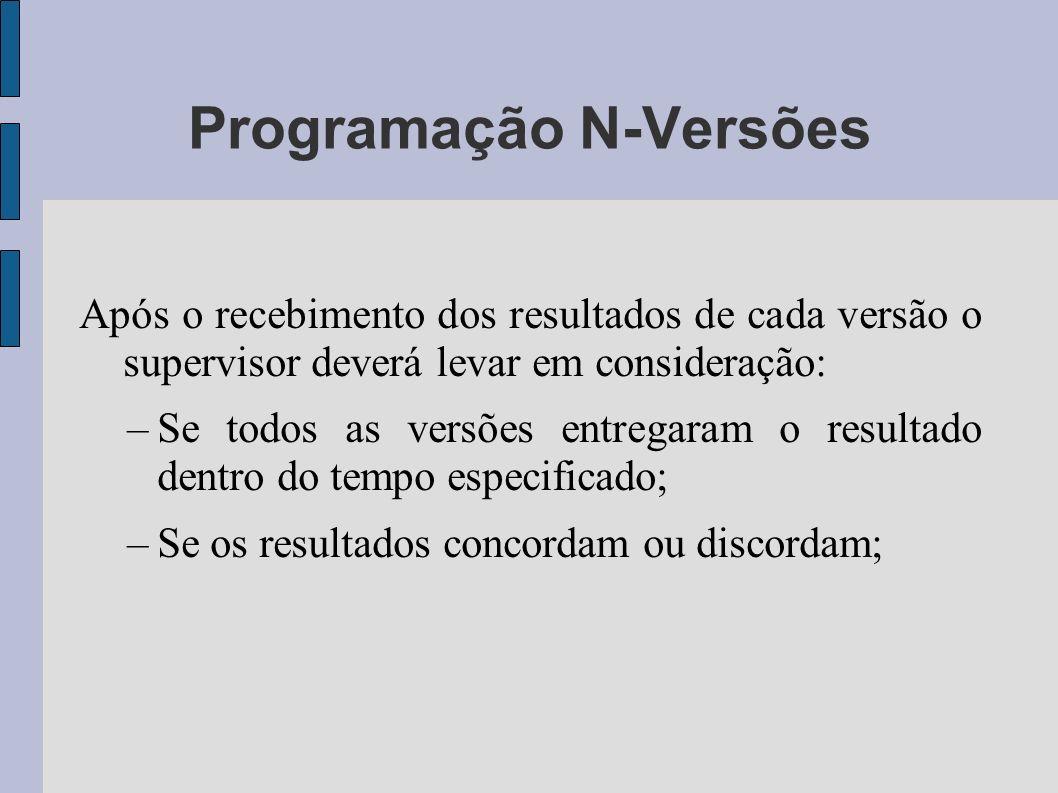 Programação N-Versões Após o recebimento dos resultados de cada versão o supervisor deverá levar em consideração: –Se todos as versões entregaram o re
