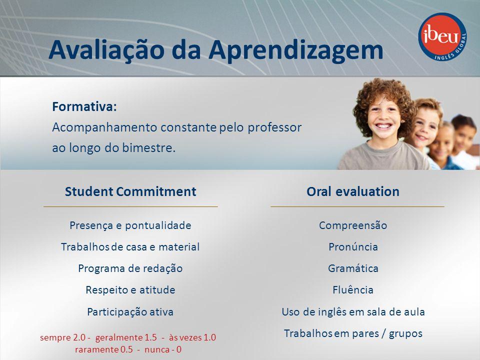 Student Commitment Presença e pontualidade Trabalhos de casa e material Programa de redação Respeito e atitude Participação ativa Oral evaluation Comp