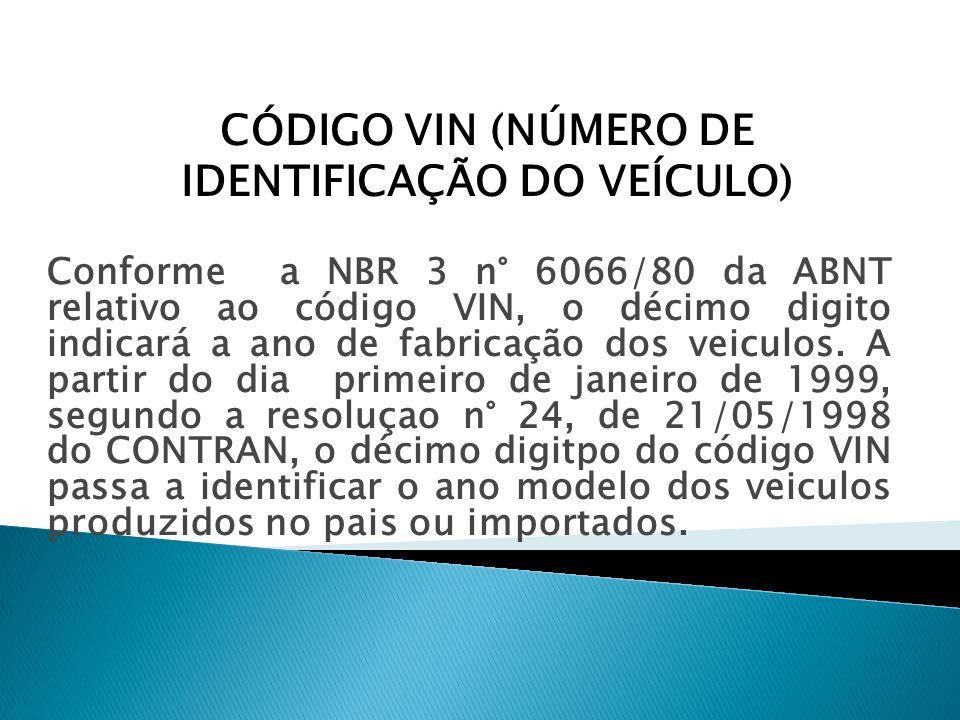 Conforme a NBR 3 n° 6066/80 da ABNT relativo ao código VIN, o décimo digito indicará a ano de fabricação dos veiculos. A partir do dia primeiro de jan