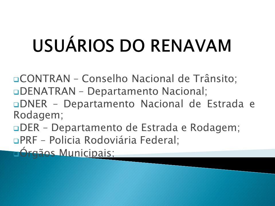 CONTRAN – Conselho Nacional de Trânsito; DENATRAN – Departamento Nacional; DNER – Departamento Nacional de Estrada e Rodagem; DER – Departamento de Es