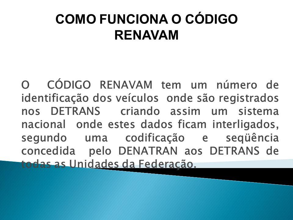 O CÓDIGO RENAVAM tem um número de identificação dos veículos onde são registrados nos DETRANS criando assim um sistema nacional onde estes dados ficam