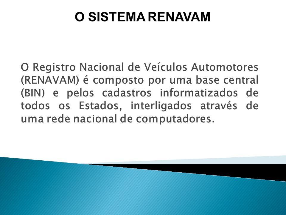 O Registro Nacional de Veículos Automotores (RENAVAM) é composto por uma base central (BIN) e pelos cadastros informatizados de todos os Estados, inte