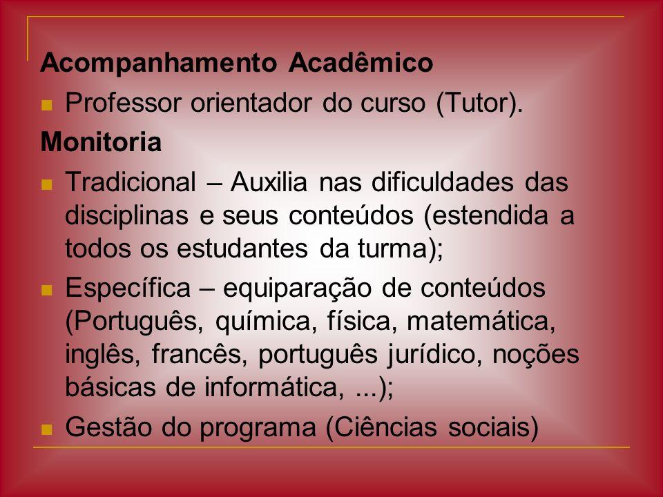 Acompanhamento Acadêmico Professor orientador do curso (Tutor). Monitoria Tradicional – Auxilia nas dificuldades das disciplinas e seus conteúdos (est