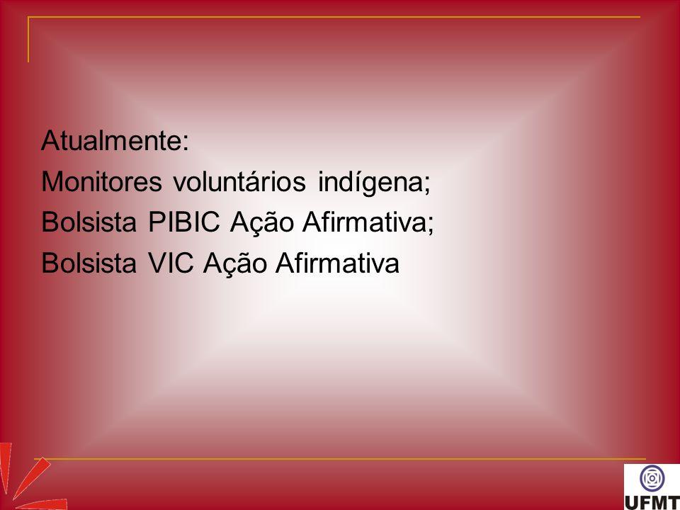 Atualmente: Monitores voluntários indígena; Bolsista PIBIC Ação Afirmativa; Bolsista VIC Ação Afirmativa