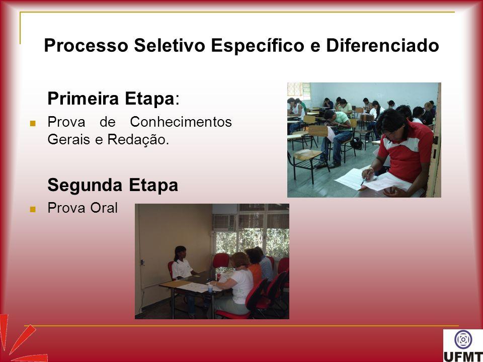 Processo Seletivo Específico e Diferenciado Primeira Etapa: Prova de Conhecimentos Gerais e Redação. Segunda Etapa Prova Oral