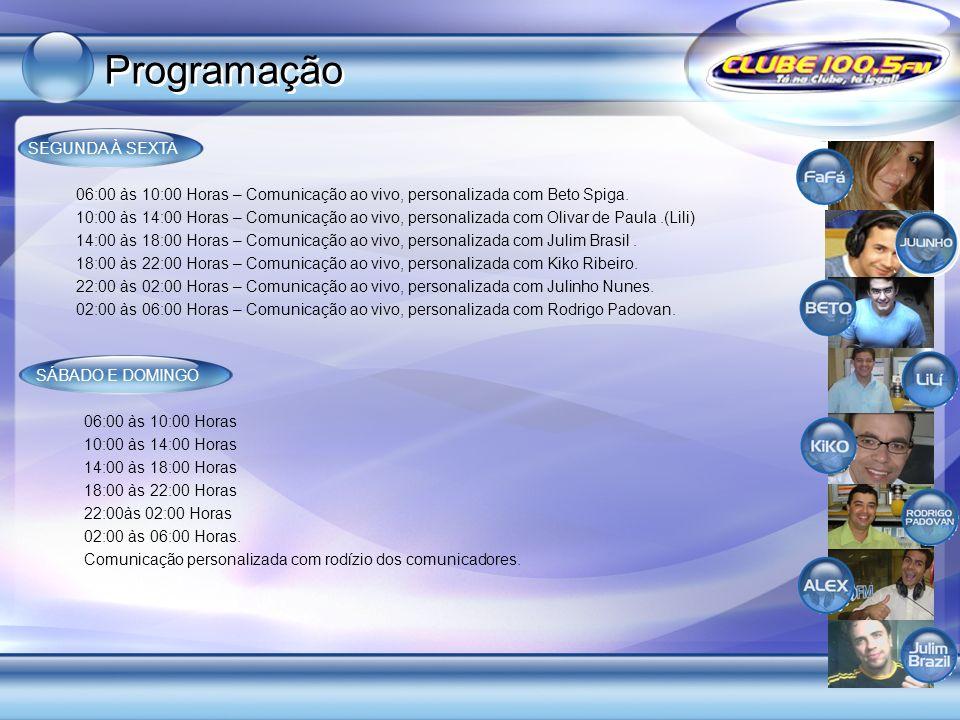 SEGUNDA À SEXTA 06:00 às 10:00 Horas – Comunicação ao vivo, personalizada com Beto Spiga. 10:00 às 14:00 Horas – Comunicação ao vivo, personalizada co