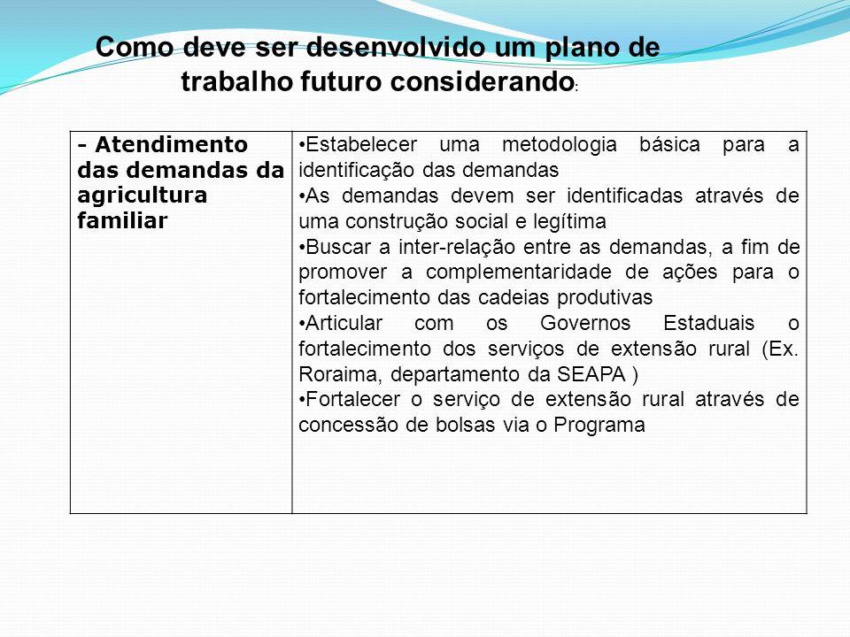 - Atendimento das demandas da agricultura familiar Estabelecer uma metodologia básica para a identificação das demandas As demandas devem ser identifi
