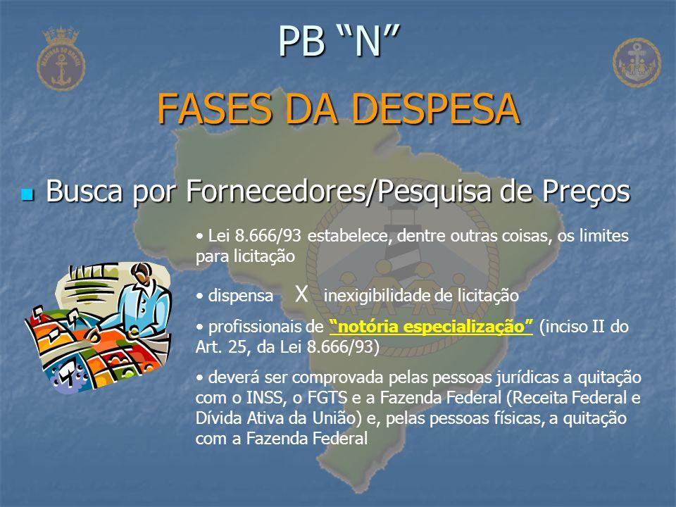 Busca por Fornecedores/Pesquisa de Preços Busca por Fornecedores/Pesquisa de Preços PB N FASES DA DESPESA Lei 8.666/93 estabelece, dentre outras coisa