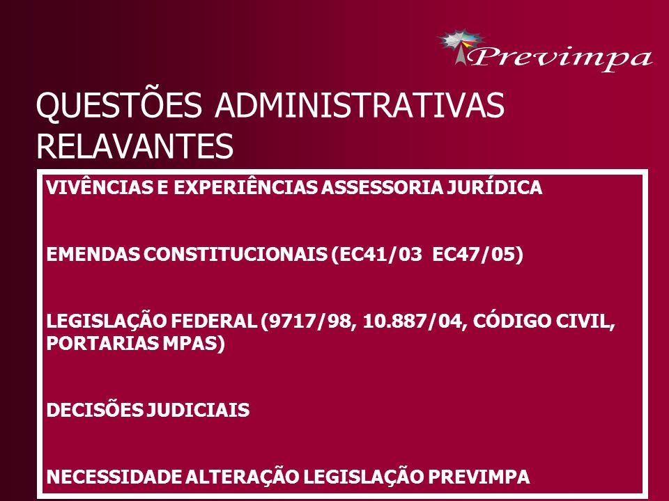 QUESTÕES ADMINISTRATIVAS RELAVANTES VIVÊNCIAS E EXPERIÊNCIAS ASSESSORIA JURÍDICA EMENDAS CONSTITUCIONAIS (EC41/03 EC47/05) LEGISLAÇÃO FEDERAL (9717/98