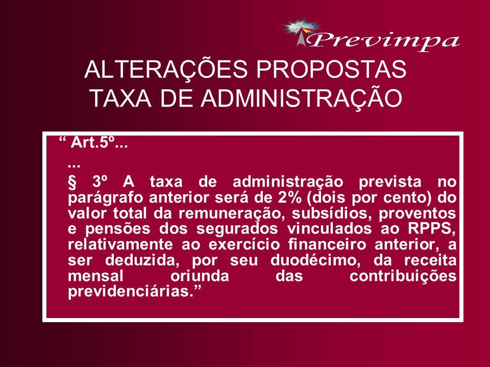 ALTERAÇÕES PROPOSTAS TAXA DE ADMINISTRAÇÃO Art.5º...... § 3º A taxa de administração prevista no parágrafo anterior será de 2% (dois por cento) do val