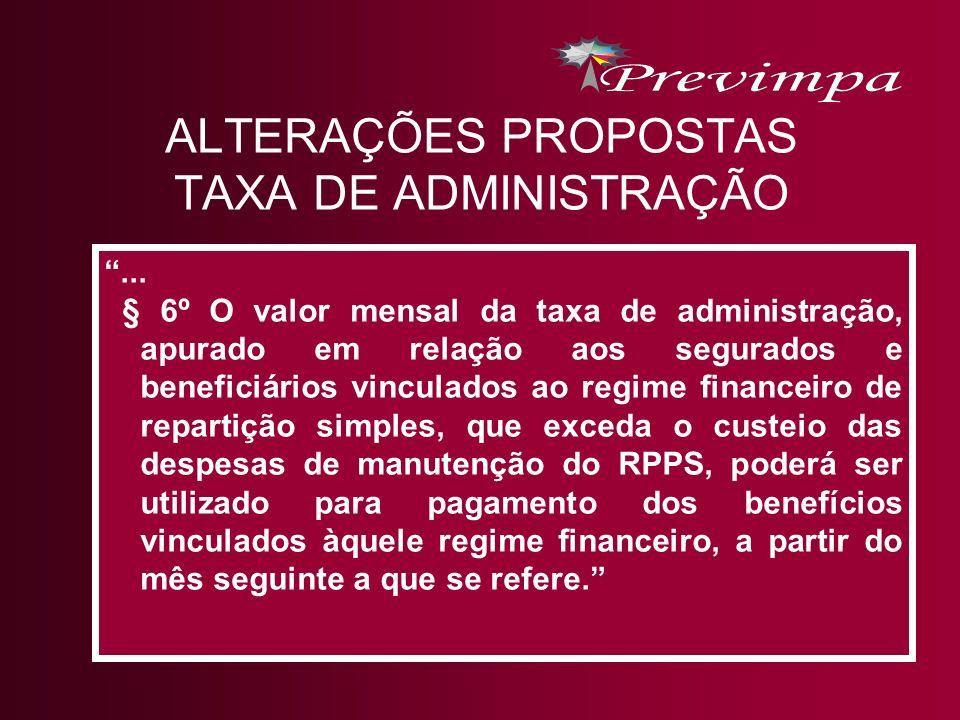 ALTERAÇÕES PROPOSTAS TAXA DE ADMINISTRAÇÃO... § 6º O valor mensal da taxa de administração, apurado em relação aos segurados e beneficiários vinculado