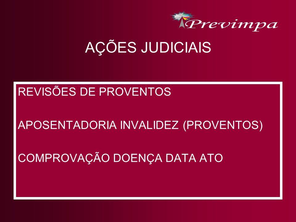 AÇÕES JUDICIAIS REVISÕES DE PROVENTOS APOSENTADORIA INVALIDEZ (PROVENTOS) COMPROVAÇÃO DOENÇA DATA ATO