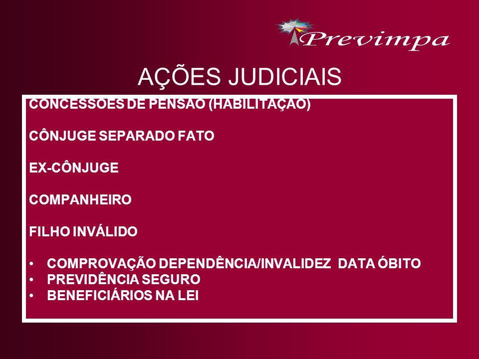 AÇÕES JUDICIAIS CONCESSÕES DE PENSÃO (HABILITAÇÃO) CÔNJUGE SEPARADO FATO EX-CÔNJUGE COMPANHEIRO FILHO INVÁLIDO COMPROVAÇÃO DEPENDÊNCIA/INVALIDEZ DATA