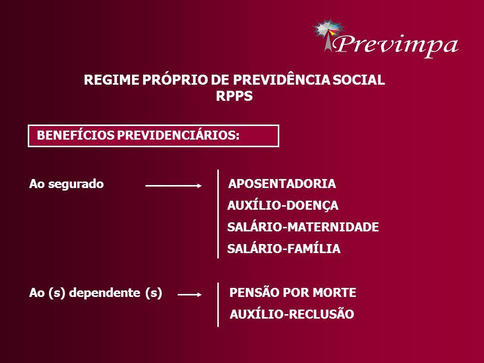 REGIME PRÓPRIO DE PREVIDÊNCIA SOCIAL RPPS BENEFÍCIOS PREVIDENCIÁRIOS: Ao segurado APOSENTADORIA AUXÍLIO-DOENÇA SALÁRIO-MATERNIDADE SALÁRIO-FAMÍLIA Ao