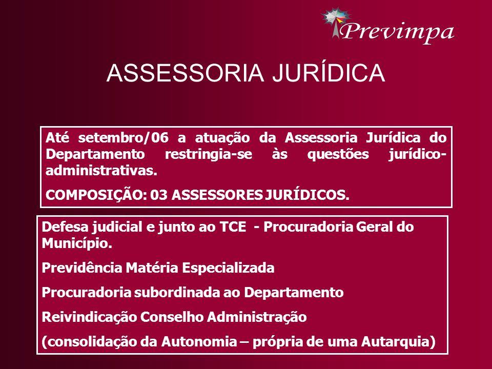 Até setembro/06 a atuação da Assessoria Jurídica do Departamento restringia-se às questões jurídico- administrativas. COMPOSIÇÃO: 03 ASSESSORES JURÍDI