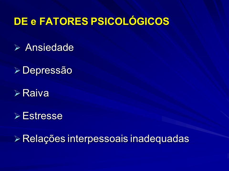 DE e FATORES PSICOLÓGICOS Ansiedade Ansiedade Depressão Depressão Raiva Raiva Estresse Estresse Relações interpessoais inadequadas Relações interpesso