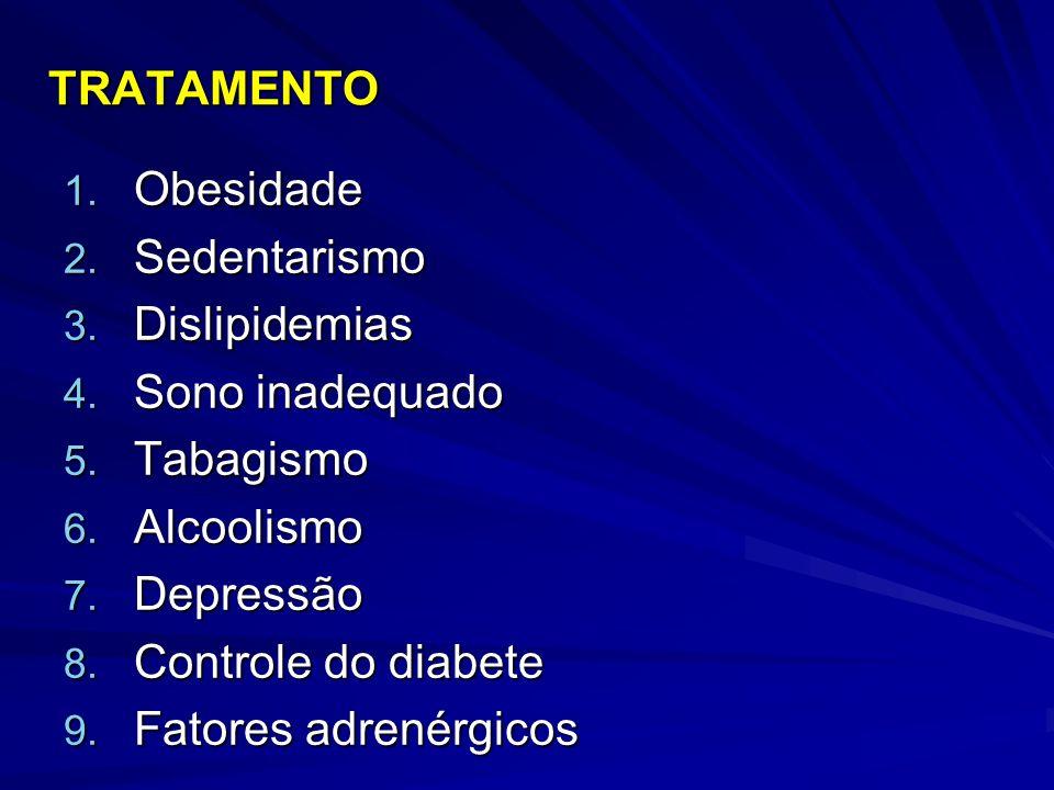 TRATAMENTO 1. Obesidade 2. Sedentarismo 3. Dislipidemias 4. Sono inadequado 5. Tabagismo 6. Alcoolismo 7. Depressão 8. Controle do diabete 9. Fatores