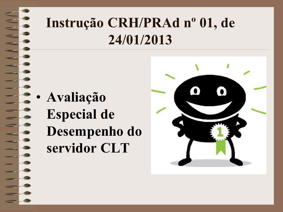 Instrução CRH/PRAd nº 01, de 24/01/2013 Avaliação Especial de Desempenho do servidor CLT