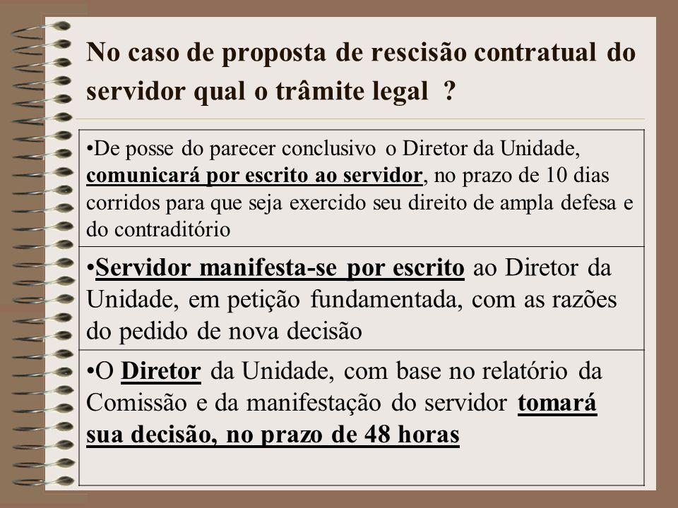 No caso de proposta de rescisão contratual do servidor qual o trâmite legal ? De posse do parecer conclusivo o Diretor da Unidade, comunicar á por esc