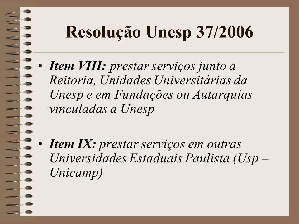 Resolução Unesp 37/2006 Item VIII: prestar servi ç os junto a Reitoria, Unidades Universit á rias da Unesp e em Funda ç ões ou Autarquias vinculadas a