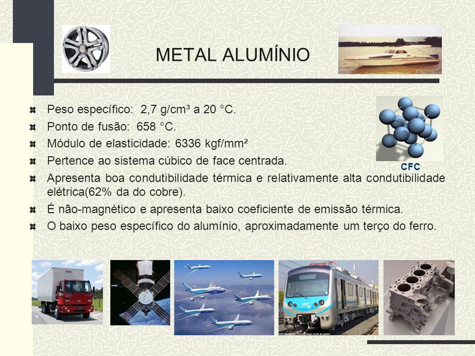 METAL ALUMÍNIO Peso específico: 2,7 g/cm³ a 20 °C. Ponto de fusão: 658 °C. Módulo de elasticidade: 6336 kgf/mm² Pertence ao sistema cúbico de face cen