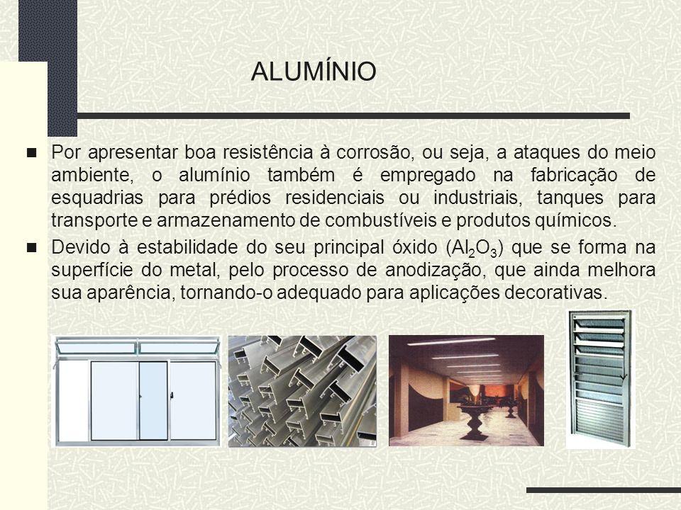 Por apresentar boa resistência à corrosão, ou seja, a ataques do meio ambiente, o alumínio também é empregado na fabricação de esquadrias para prédios