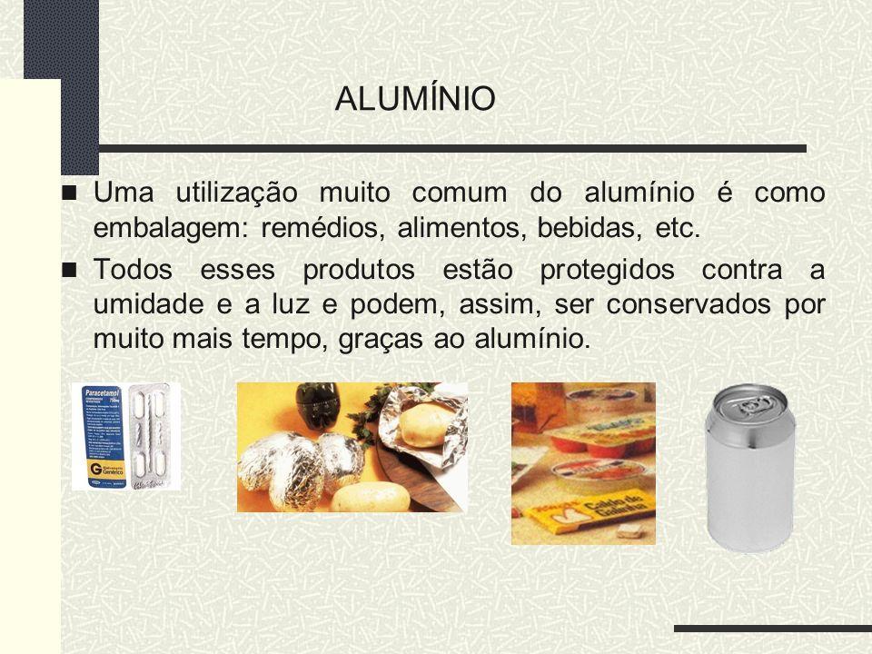 Uma utilização muito comum do alumínio é como embalagem: remédios, alimentos, bebidas, etc. Todos esses produtos estão protegidos contra a umidade e a