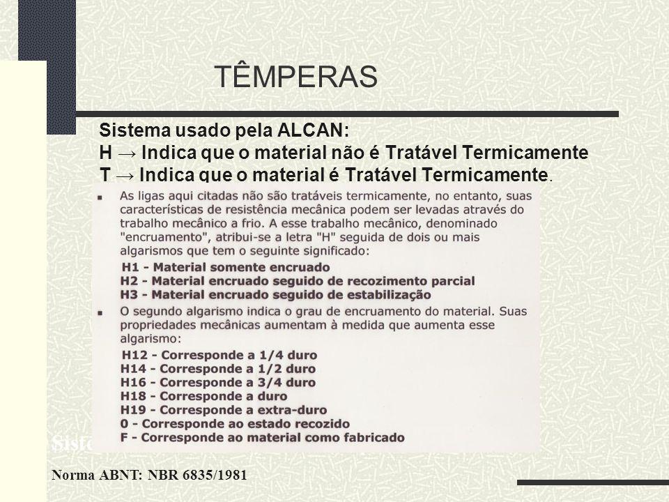 TÊMPERAS Sistema usado pela ALCAN: H Indica que o material não é Tratável Termicamente T Indica que o material é Tratável Termicamente. Sistema de Cla