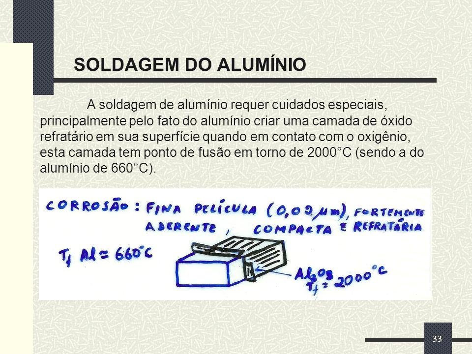 SOLDAGEM DO ALUMÍNIO 33 A soldagem de alumínio requer cuidados especiais, principalmente pelo fato do alumínio criar uma camada de óxido refratário em