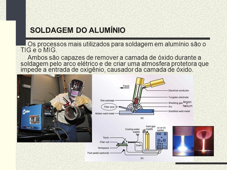 Os processos mais utilizados para soldagem em alumínio são o TIG e o MIG. Ambos são capazes de remover a camada de óxido durante a soldagem pelo arco