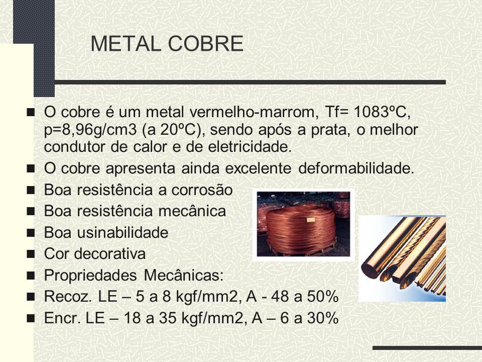 METAL COBRE O cobre é um metal vermelho-marrom, Tf= 1083ºC, p=8,96g/cm3 (a 20ºC), sendo após a prata, o melhor condutor de calor e de eletricidade. O