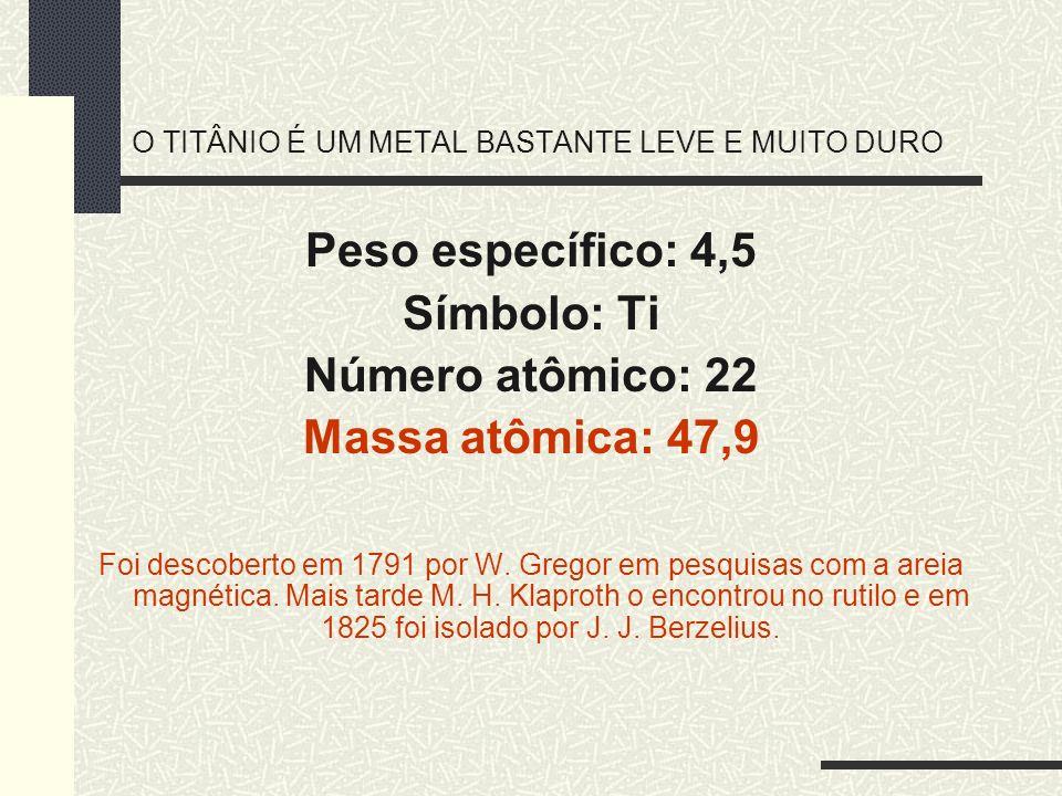 O TITÂNIO É UM METAL BASTANTE LEVE E MUITO DURO Peso específico: 4,5 Símbolo: Ti Número atômico: 22 Massa atômica: 47,9 Foi descoberto em 1791 por W.