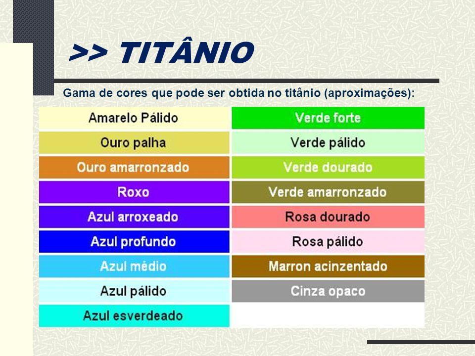 >> TITÂNIO Gama de cores que pode ser obtida no titânio (aproximações):
