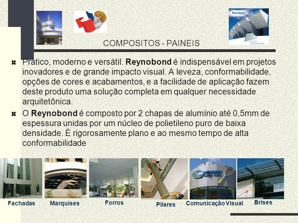COMPOSITOS - PAINEIS Prático, moderno e versátil. Reynobond é indispensável em projetos inovadores e de grande impacto visual. A leveza, conformabilid