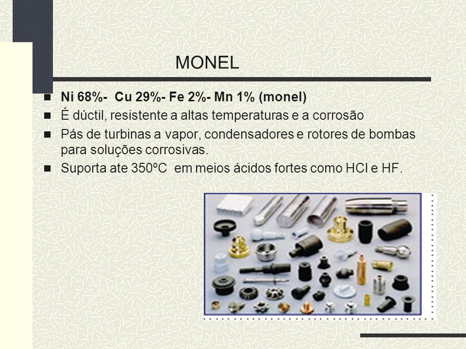 MONEL Ni 68%- Cu 29%- Fe 2%- Mn 1% (monel) É dúctil, resistente a altas temperaturas e a corrosão Pás de turbinas a vapor, condensadores e rotores de