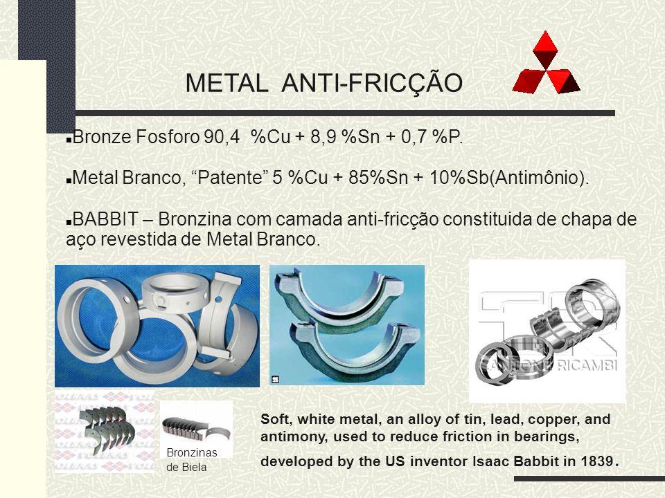 METAL ANTI-FRICÇÃO Bronze Fosforo 90,4 %Cu + 8,9 %Sn + 0,7 %P. Metal Branco, Patente 5 %Cu + 85%Sn + 10%Sb(Antimônio). BABBIT – Bronzina com camada an