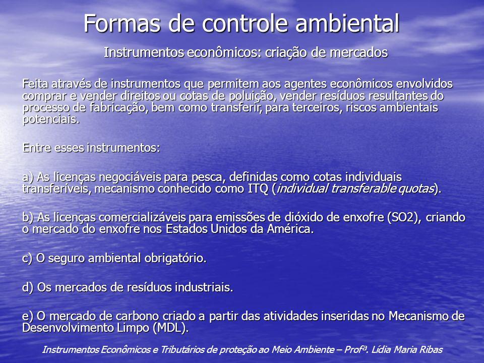 Formas de controle ambiental Instrumentos econômicos: criação de mercados Feita através de instrumentos que permitem aos agentes econômicos envolvidos