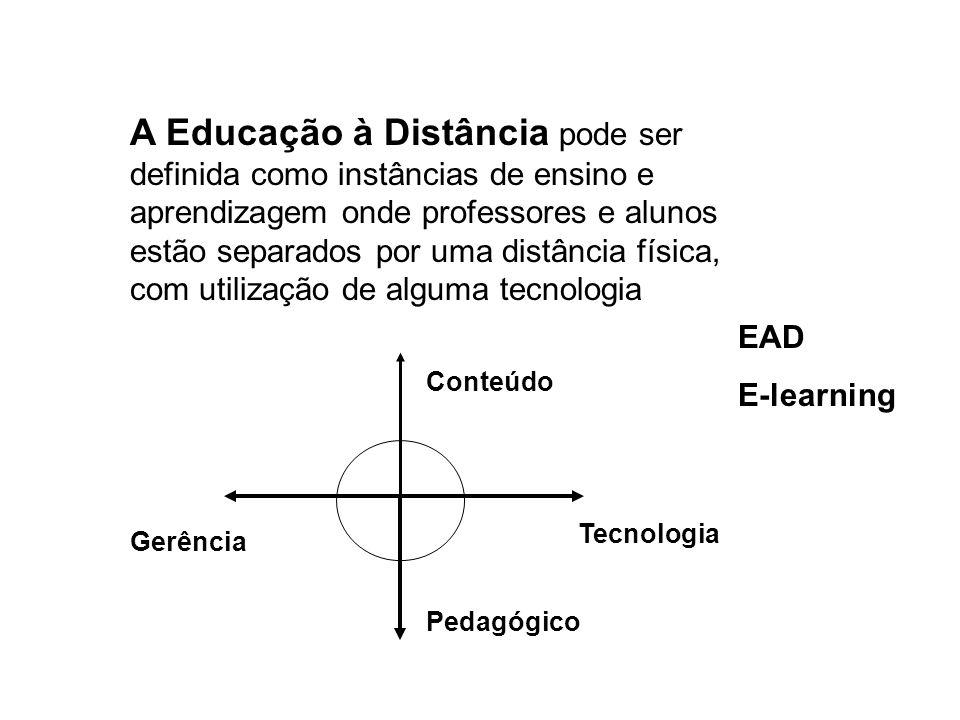 A Educação à Distância pode ser definida como instâncias de ensino e aprendizagem onde professores e alunos estão separados por uma distância física,