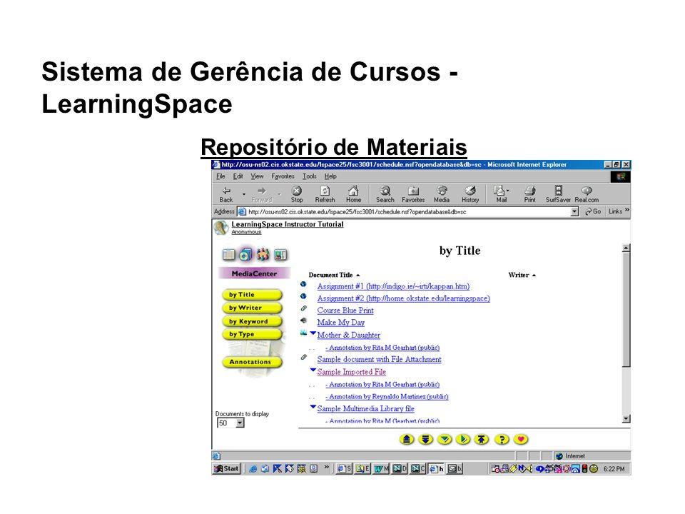 Sistema de Gerência de Cursos - LearningSpace Repositório de Materiais