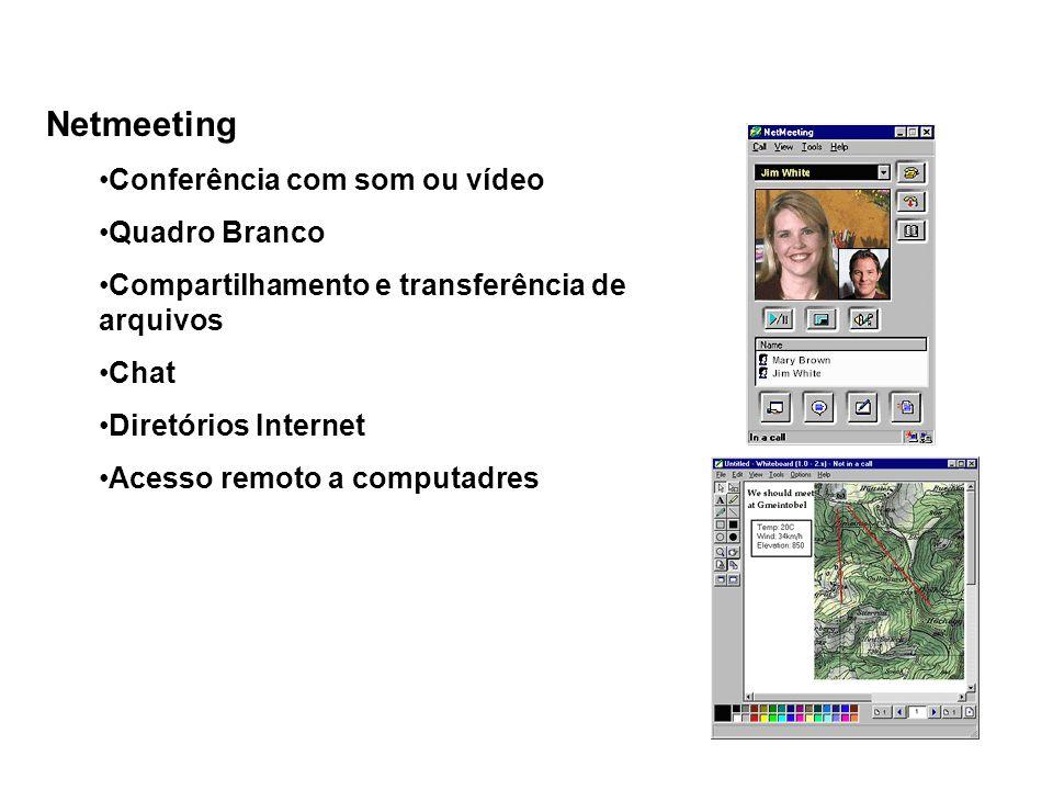 Netmeeting Conferência com som ou vídeo Quadro Branco Compartilhamento e transferência de arquivos Chat Diretórios Internet Acesso remoto a computadre