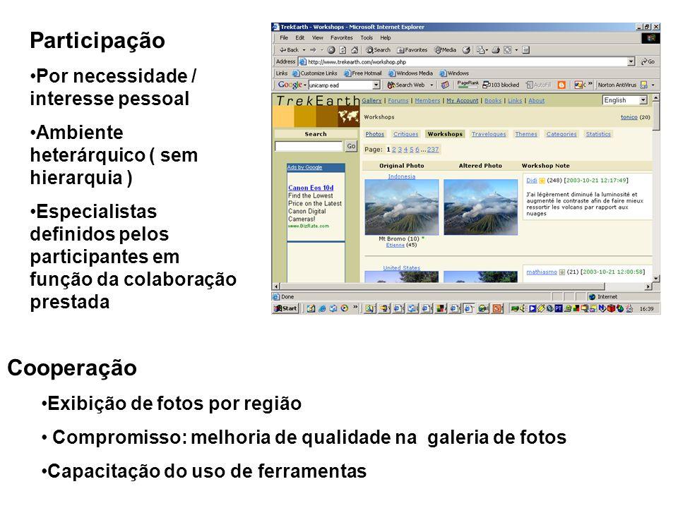 Cooperação Exibição de fotos por região Compromisso: melhoria de qualidade na galeria de fotos Capacitação do uso de ferramentas Participação Por nece